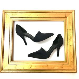 VINCE CLAIRE D'ORSAY NAVY SUEDE PUMPS SZ 7 ITALY